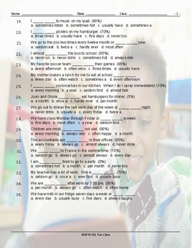Frequency Adverbs-Time Expressions Multiple Choice Worksheet