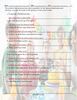 Frequency Adverbs-Time Expressions Scrambled Sentences Worksheet