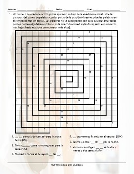 Frequency Adverbs Word Spiral Spanish Worksheet