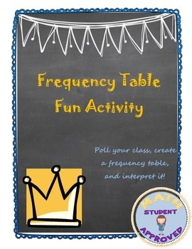 Frequency Table/Histogram/Central Tendency - Real Life Fun Activity