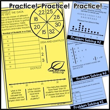 Frequency Tables, Dot Plots, and Stem-and-Leaf Plots Interactive Notebook Set
