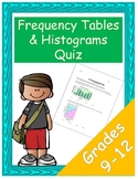 Frequency Tables and Histograms Quiz