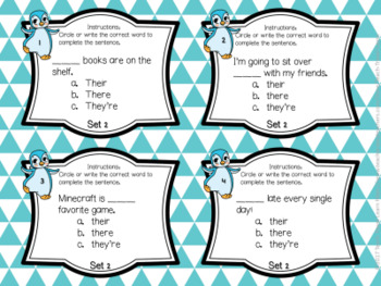 Frequently Confused Words Task Cards, Quizzes, and Game Bundle