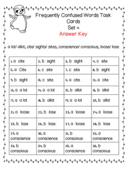 Frequently Confused Words Task Cards and Quiz Set Four