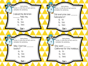 Frequently Confused Words Task Cards and Quiz Set One