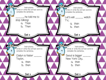 Frequently Confused Words Task Cards and Quiz Set Three