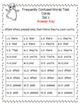 Frequently Confused Words Task Cards and Quiz Set Two