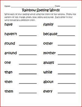 Frequently Misspelled Spelling Activities