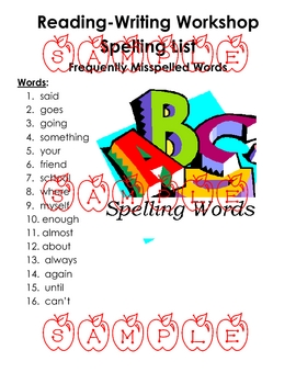 Frequently Misspelled Spelling Activities -Theme 3