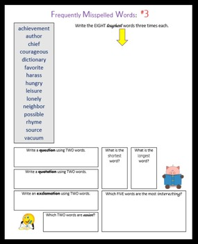 Frequently Misspelled Words (4th – 5th grade)