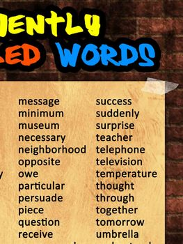 Frequently Misspelled Words Poster