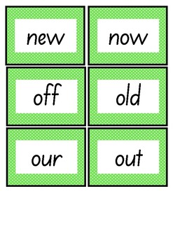Frequently used word lists - For a short time - Green