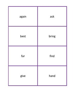 Frequently used word lists - Flashcards - 200