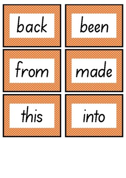 Frequently used word lists - Flashcards - Orange