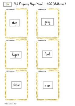 Frequently used word lists - Flashcards - Short time - Buttercup