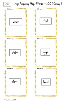 Frequently used word lists - Flashcards - Short time - Canary