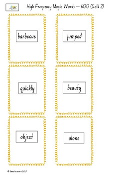 Frequently used word lists - Flashcards -Short time - Gold2