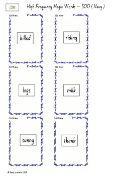 Frequently used word lists - Flashcards - Short time - Navy