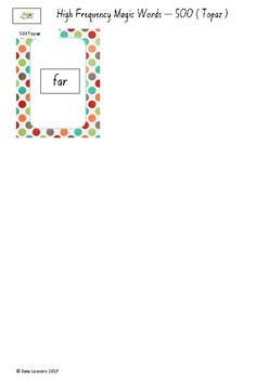 Frequently used word lists - Flashcards - Short time - Topaz