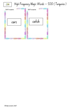Frequently used word lists - Flashcards - Short time - Turquoise