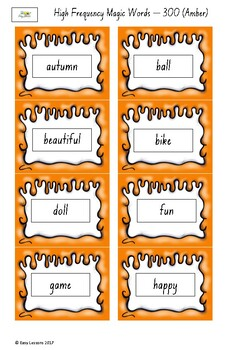 Frequently used word lists -Flashcards - Short time only - Amber