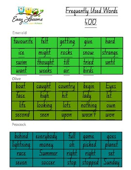Frequently used word lists - Next Levels - 300 - Short time only -
