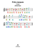 Frere Jacques |C| tabs for chime bars, harmonica, guitar, ukulele, bass, drums