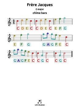 Frere Jacques |C| tabs for chime bars, harmonica, guitar,