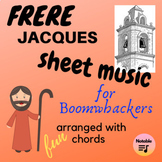 Frere Jacques music for Boomwhackers, with chords
