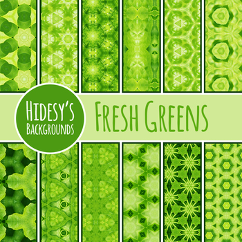 Fresh Bright Greens Digital Paper / Patterns / Backgrounds Commercial Use