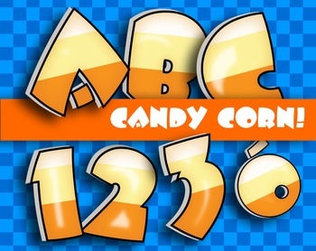 "Fresh Candy Corn!!! Alphabet -  300 DPI - PDF/ PNGs - 3.5"""