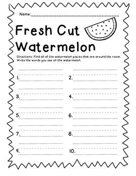 Fresh Cut Watermelon - Short e read and write the room