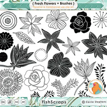 Fresh Flower Black and White Digital Stamps, Flower Line Art, Foliage Doodle