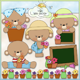 Fresh Flowers Bears - CU Clip Art & B&W Set
