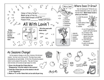 Fresh Foods From the Farmers' Market Two-Page Activity Set