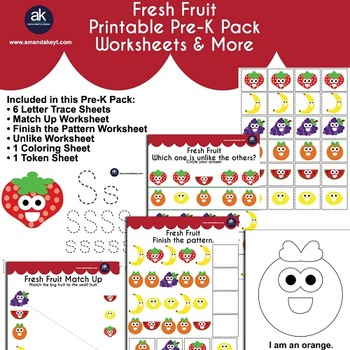 Fresh Fruit Worksheets and More Printable Pack