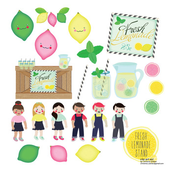 Fresh Lemonade Stand Clip Art and Paper Set