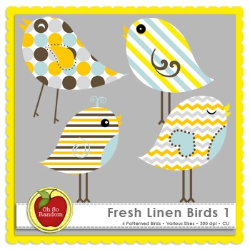 Fresh Linen Birds 1 {Graphics for Commercial Use}