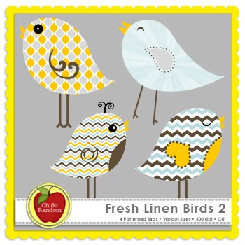Fresh Linen Birds 2 {Graphics for Commercial Use}