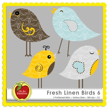 Fresh Linen Birds 6 {Graphics for Commercial Use}