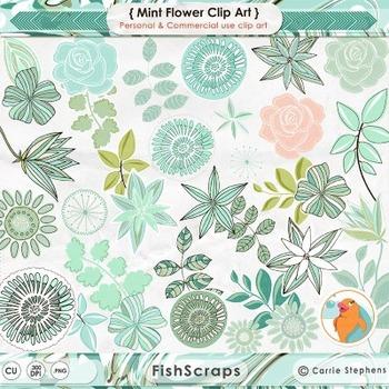 Fresh Mint Flower ClipArt, Whimsical, Fantasy Florals, Mint Green, Peach, Teal