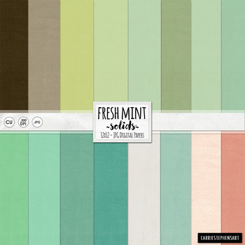 Fresh Mint Solid Digital Paper, Solid Cardstock Backgrounds, Mint Green, Peach