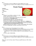 Fresh Pasta Recipe, Demo Worksheet w/ Key, and Self Assessment for Students