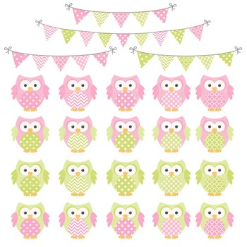 Fresh Pink & Lime Owl Vectors & Papers - Owl Clipart, Owl Clip Art, Baby Owls