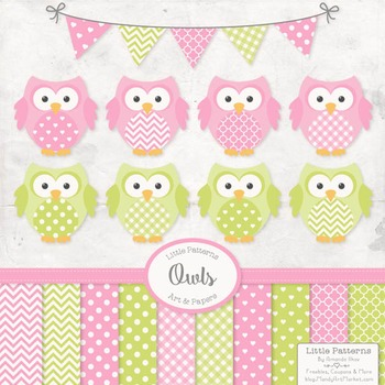 Fresh Pink & Lime Owl Vectors & Papers - Owl Clipart, Owl