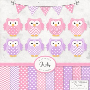Fresh Pink & Purple Owl Vectors & Papers - Owl Clipart, Ow