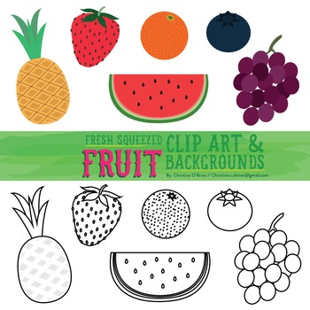 Fresh Squeezed Fruit Clip Art / Food Clip Art and Backgrounds Set