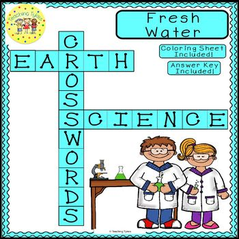 Fresh Water Earth Science Crossword Coloring Puzzle Worksheet Middle School