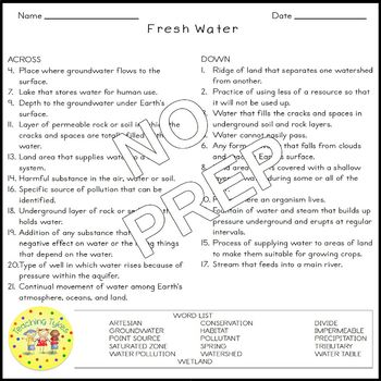 Fresh Water Crossword Coloring Puzzle