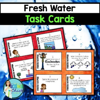 Fresh Water Task Cards - with or without QR codes